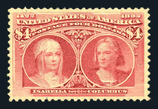 Costs of US Stamps Scott Catalogue #244: US$4.00 1893 Columbian Exposition. Harmer-Schau Auction Galleries, Aug 2015, Sale 106, Lot 1655