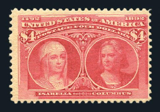 Price of US Stamps Scott Cat. # 244 - US$4.00 1893 Columbian Exposition. Harmer-Schau Auction Galleries, Aug 2015, Sale 106, Lot 1652
