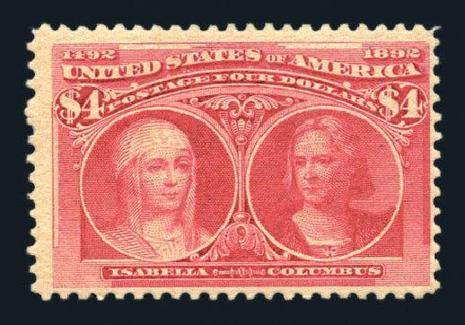 Price of US Stamps Scott Cat. # 244 - US$4.00 1893 Columbian Exposition. Harmer-Schau Auction Galleries, Aug 2015, Sale 106, Lot 1652