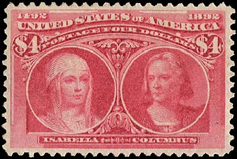 US Stamps Value Scott # 244 - 1893 US$4.00 Columbian Exposition. Regency-Superior, Aug 2015, Sale 112, Lot 472