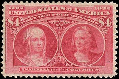 US Stamps Value Scott # 244 - 1893 US$4.00 Columbian Exposition. Regency-Superior, Aug 2015, Sale 112, Lot 472