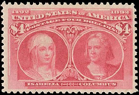 US Stamp Price Scott Catalogue # 244 - US$4.00 1893 Columbian Exposition. Regency-Superior, Aug 2015, Sale 112, Lot 473