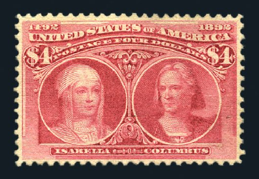 US Stamp Values Scott Catalogue 244 - US$4.00 1893 Columbian Exposition. Harmer-Schau Auction Galleries, Aug 2015, Sale 106, Lot 1656