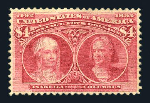 US Stamp Values Scott Catalogue 244 - US$4.00 1893 Columbian Exposition. Harmer-Schau Auction Galleries, Aug 2015, Sale 106, Lot 1656