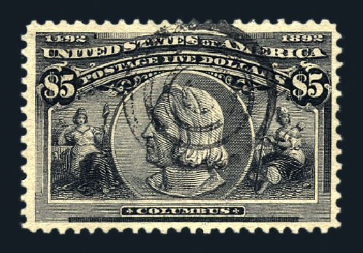 Cost of US Stamps Scott Cat. # 245: 1893 US$5.00 Columbian Exposition. Harmer-Schau Auction Galleries, Aug 2015, Sale 106, Lot 1668