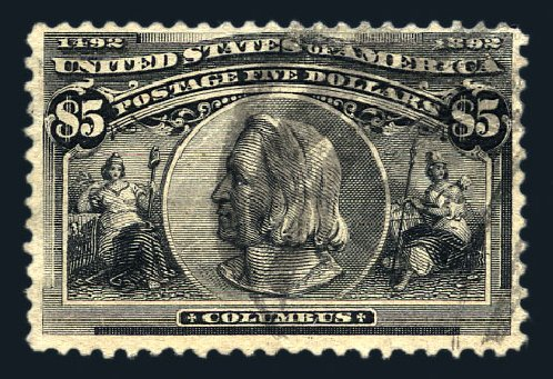 Prices of US Stamps Scott Catalogue #245 - 1893 US$5.00 Columbian Exposition. Harmer-Schau Auction Galleries, Aug 2015, Sale 106, Lot 1669