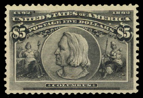 Costs of US Stamps Scott Cat. #245 - US$5.00 1893 Columbian Exposition. Daniel Kelleher Auctions, Aug 2015, Sale 672, Lot 2520