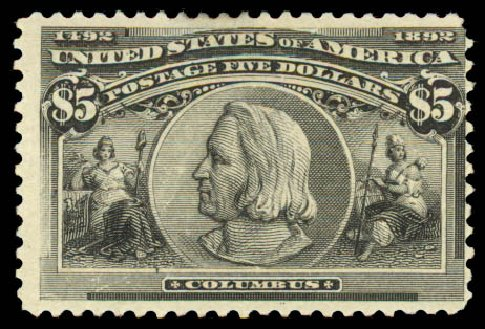 US Stamp Values Scott Catalogue # 245 - 1893 US$5.00 Columbian Exposition. Daniel Kelleher Auctions, Aug 2015, Sale 672, Lot 2521