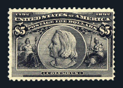 Price of US Stamps Scott Cat. 245: US$5.00 1893 Columbian Exposition. Harmer-Schau Auction Galleries, Aug 2015, Sale 106, Lot 1664