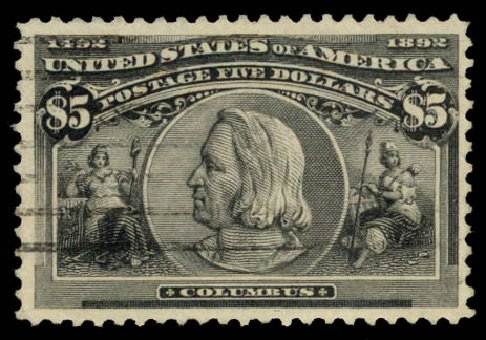 Values of US Stamps Scott Cat. # 245 - 1893 US$5.00 Columbian Exposition. Daniel Kelleher Auctions, Aug 2015, Sale 672, Lot 2524