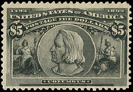 US Stamps Values Scott Cat. #245: US$5.00 1893 Columbian Exposition. Regency-Superior, Aug 2015, Sale 112, Lot 484