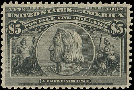 Price of US Stamp Scott Cat. # 245 - US$5.00 1893 Columbian Exposition. Regency-Superior, Aug 2015, Sale 112, Lot 485