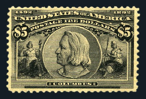 Values of US Stamps Scott Catalogue # 245 - 1893 US$5.00 Columbian Exposition. Harmer-Schau Auction Galleries, Aug 2015, Sale 106, Lot 1663