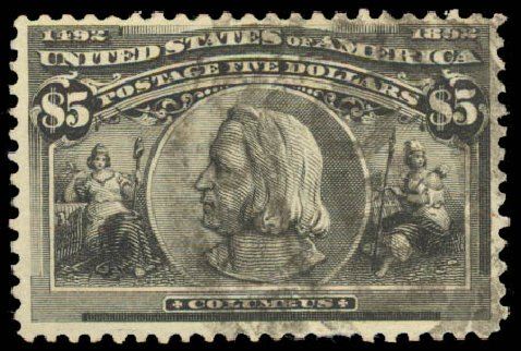 Values of US Stamp Scott Catalog # 245 - 1893 US$5.00 Columbian Exposition. Daniel Kelleher Auctions, Aug 2015, Sale 672, Lot 2523