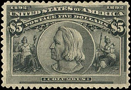 US Stamp Price Scott Cat. # 245: US$5.00 1893 Columbian Exposition. Regency-Superior, Aug 2015, Sale 112, Lot 483