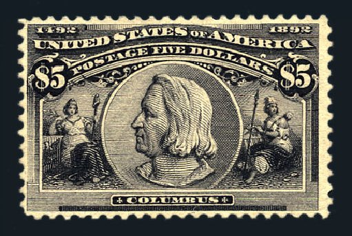 US Stamp Value Scott Cat. 245: 1893 US$5.00 Columbian Exposition. Harmer-Schau Auction Galleries, Aug 2015, Sale 106, Lot 1666