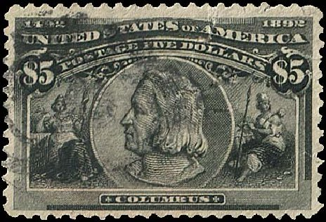 US Stamp Value Scott Catalogue 245 - US$5.00 1893 Columbian Exposition. Regency-Superior, Aug 2015, Sale 112, Lot 486