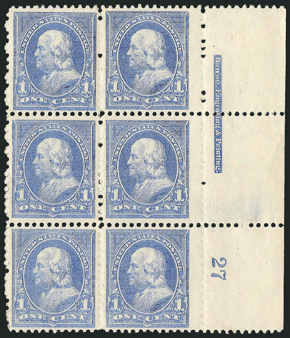 US Stamps Values Scott #246 - 1c 1894 Franklin. Robert Siegel Auction Galleries, Nov 2014, Sale 1084, Lot 3559