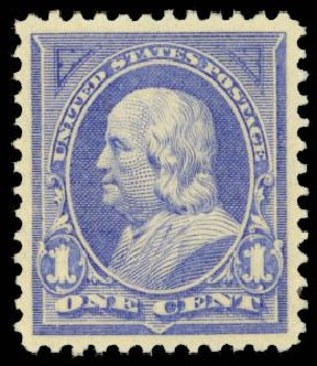 Values of US Stamps Scott Catalog 246 - 1894 1c Franklin. Daniel Kelleher Auctions, Sep 2014, Sale 655, Lot 332