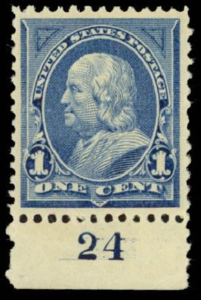 Values of US Stamps Scott Catalogue #247: 1894 1c Franklin. Daniel Kelleher Auctions, Sep 2014, Sale 655, Lot 335