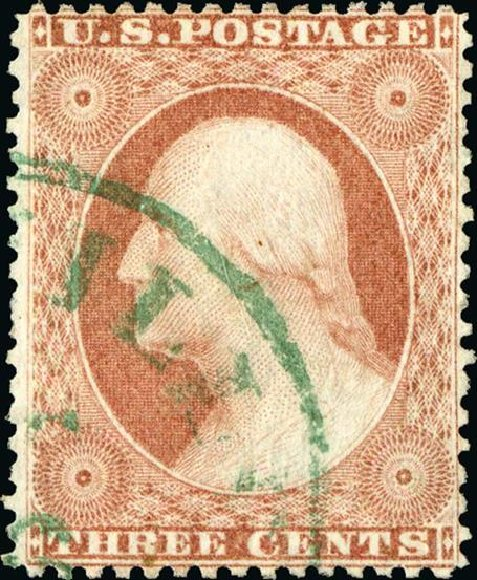 US Stamps Values Scott #25 - 3c 1857 Washington. Spink Shreves Galleries, Jan 2015, Sale 150, Lot 57