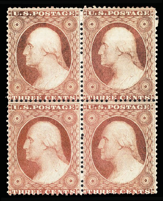 US Stamp Values Scott Catalog 25: 1857 3c Washington. Cherrystone Auctions, Jan 2015, Sale 201501, Lot 88