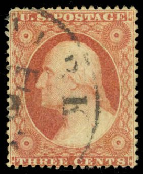 Price of US Stamps Scott Catalogue #25 - 1857 3c Washington. Daniel Kelleher Auctions, Jan 2015, Sale 663, Lot 1248