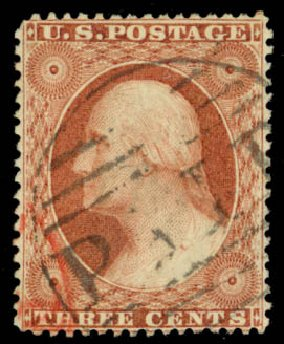 Costs of US Stamp Scott Catalog # 25: 3c 1857 Washington. Daniel Kelleher Auctions, Jan 2015, Sale 663, Lot 1249