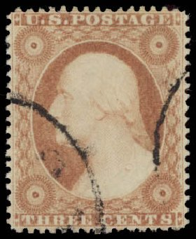 US Stamp Prices Scott Catalog #25 - 1857 3c Washington. Daniel Kelleher Auctions, May 2015, Sale 669, Lot 2439