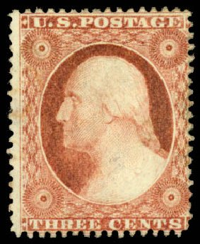 US Stamps Price Scott Cat. 25: 3c 1857 Washington. Daniel Kelleher Auctions, Aug 2015, Sale 672, Lot 2185
