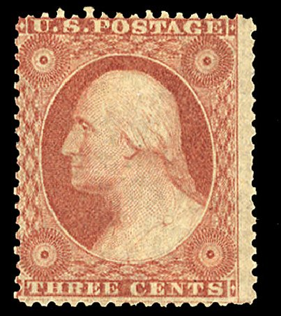 US Stamps Values Scott 25: 1857 3c Washington. Cherrystone Auctions, Mar 2015, Sale 201503, Lot 3