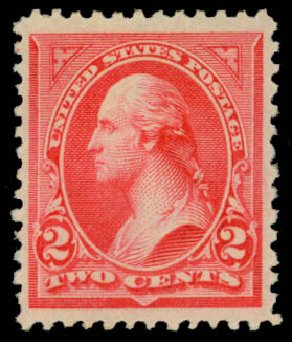 US Stamps Values Scott Cat. # 251: 1894 2c Washington. Daniel Kelleher Auctions, Jan 2015, Sale 663, Lot 1513