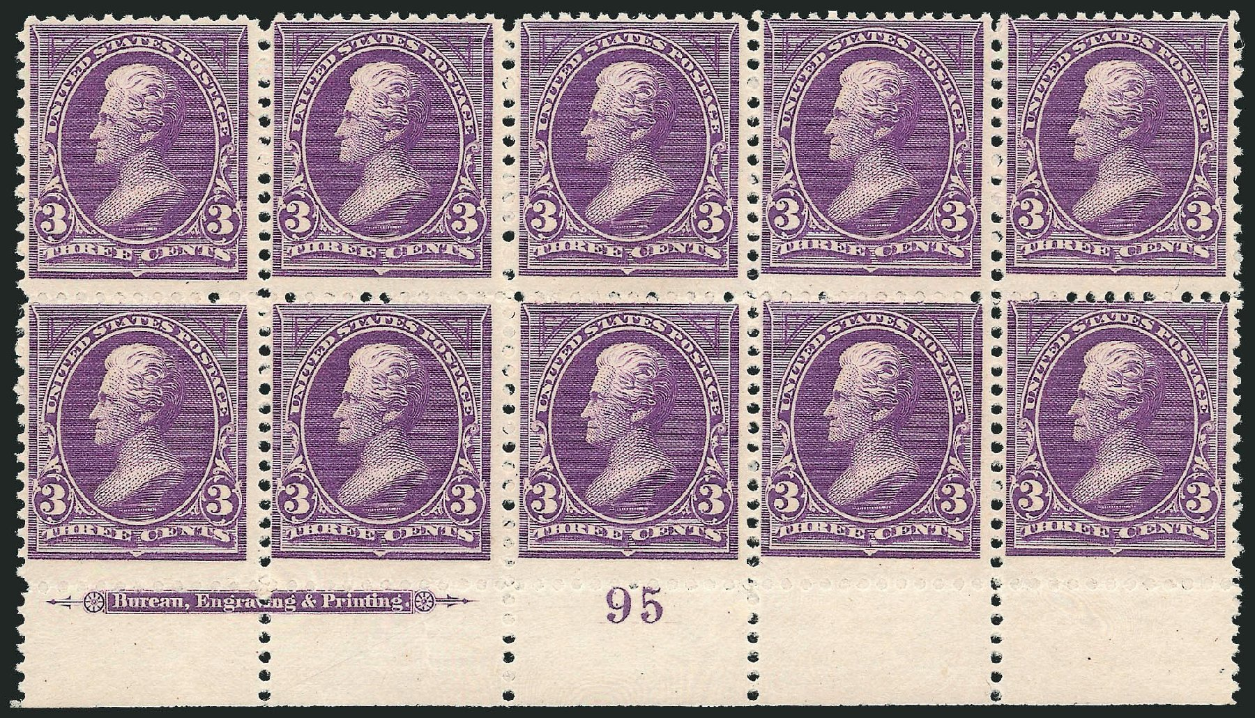 Cost of US Stamps Scott Catalogue 253: 1894 3c Jackson. Robert Siegel Auction Galleries, Nov 2014, Sale 1084, Lot 3568