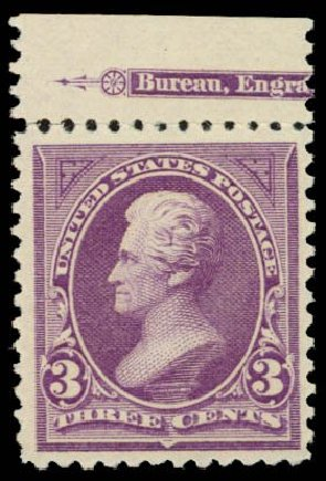 Cost of US Stamps Scott Catalogue 253: 3c 1894 Jackson. Daniel Kelleher Auctions, Dec 2014, Sale 661, Lot 223