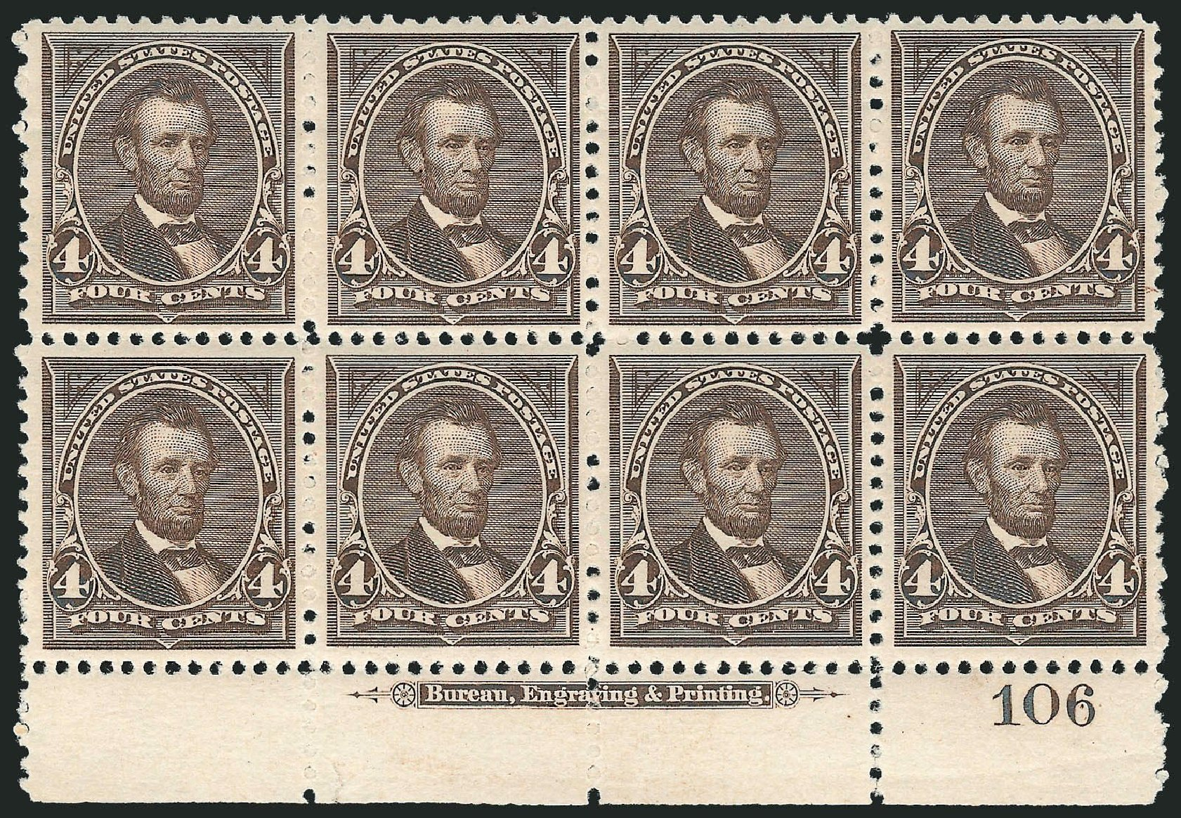 Cost of US Stamp Scott Catalogue #254: 4c 1894 Lincoln. Robert Siegel Auction Galleries, Nov 2014, Sale 1084, Lot 3569