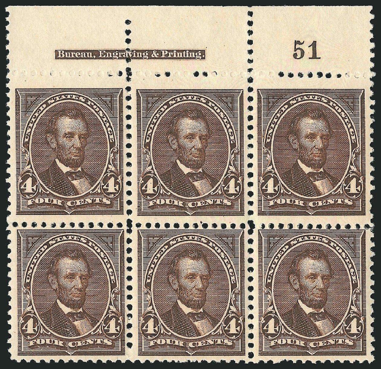Costs of US Stamps Scott #254: 1894 4c Lincoln. Robert Siegel Auction Galleries, Apr 2015, Sale 1096, Lot 449