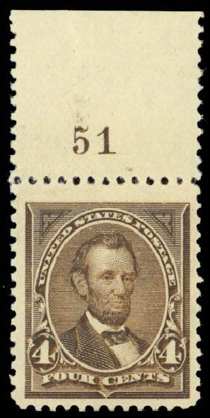 US Stamps Prices Scott Catalogue # 254 - 4c 1894 Lincoln. Daniel Kelleher Auctions, Oct 2014, Sale 660, Lot 2251