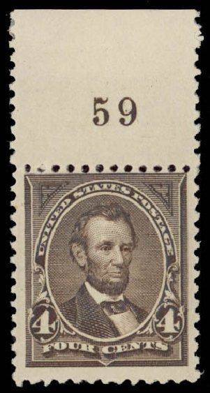 US Stamp Price Scott Catalogue 254: 1894 4c Lincoln. Daniel Kelleher Auctions, May 2015, Sale 669, Lot 2771