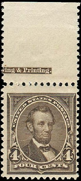 Values of US Stamp Scott Cat. # 254 - 1894 4c Lincoln. Regency-Superior, Jan 2015, Sale 109, Lot 965