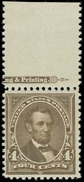 Costs of US Stamps Scott Cat. #254 - 1894 4c Lincoln. H.R. Harmer, Jun 2015, Sale 3007, Lot 3263