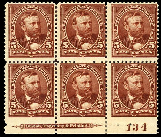 Values of US Stamp Scott Catalogue #255: 1894 5c Grant. Daniel Kelleher Auctions, Dec 2012, Sale 633, Lot 472
