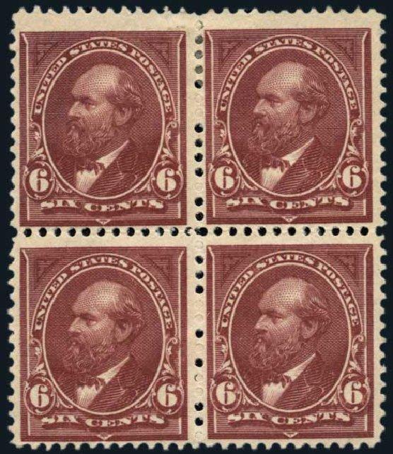 US Stamps Values Scott Cat. #256 - 1894 6c Garfield. Harmer-Schau Auction Galleries, Jan 2014, Sale 100, Lot 520