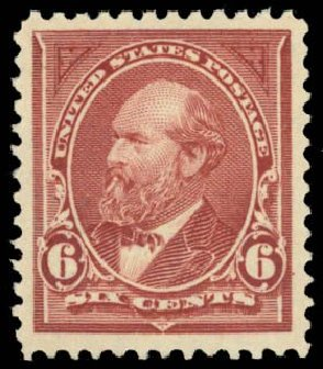 Values of US Stamp Scott Catalog 256: 1894 6c Garfield. Daniel Kelleher Auctions, May 2014, Sale 653, Lot 2170