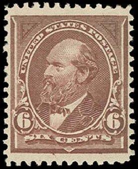 US Stamp Value Scott Catalogue 256: 1894 6c Garfield. H.R. Harmer, Oct 2014, Sale 3006, Lot 1284