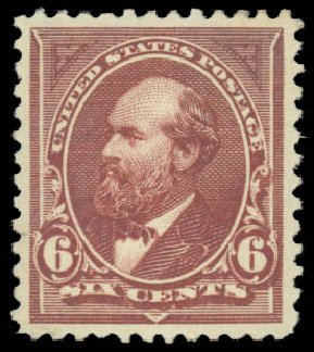 US Stamps Prices Scott #256 - 6c 1894 Garfield. Daniel Kelleher Auctions, Jan 2015, Sale 663, Lot 1514