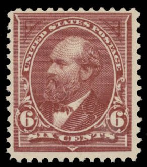 Prices of US Stamp Scott #256 - 1894 6c Garfield. Daniel Kelleher Auctions, May 2015, Sale 669, Lot 2774