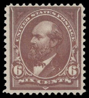 US Stamp Value Scott Catalog #256: 6c 1894 Garfield. Daniel Kelleher Auctions, Aug 2015, Sale 672, Lot 2535