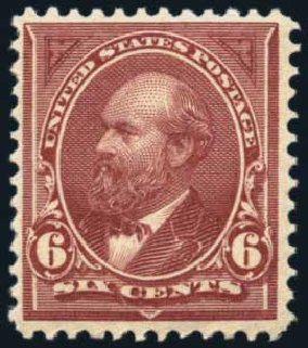 Value of US Stamps Scott Cat. #256: 1894 6c Garfield. Harmer-Schau Auction Galleries, Nov 2014, Sale 103, Lot 112