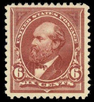 Costs of US Stamp Scott Catalog 256 - 1894 6c Garfield. Daniel Kelleher Auctions, Oct 2014, Sale 660, Lot 2252