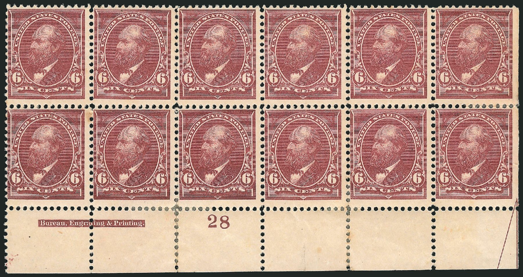 Costs of US Stamp Scott #256 - 1894 6c Garfield. Robert Siegel Auction Galleries, Nov 2014, Sale 1084, Lot 3572